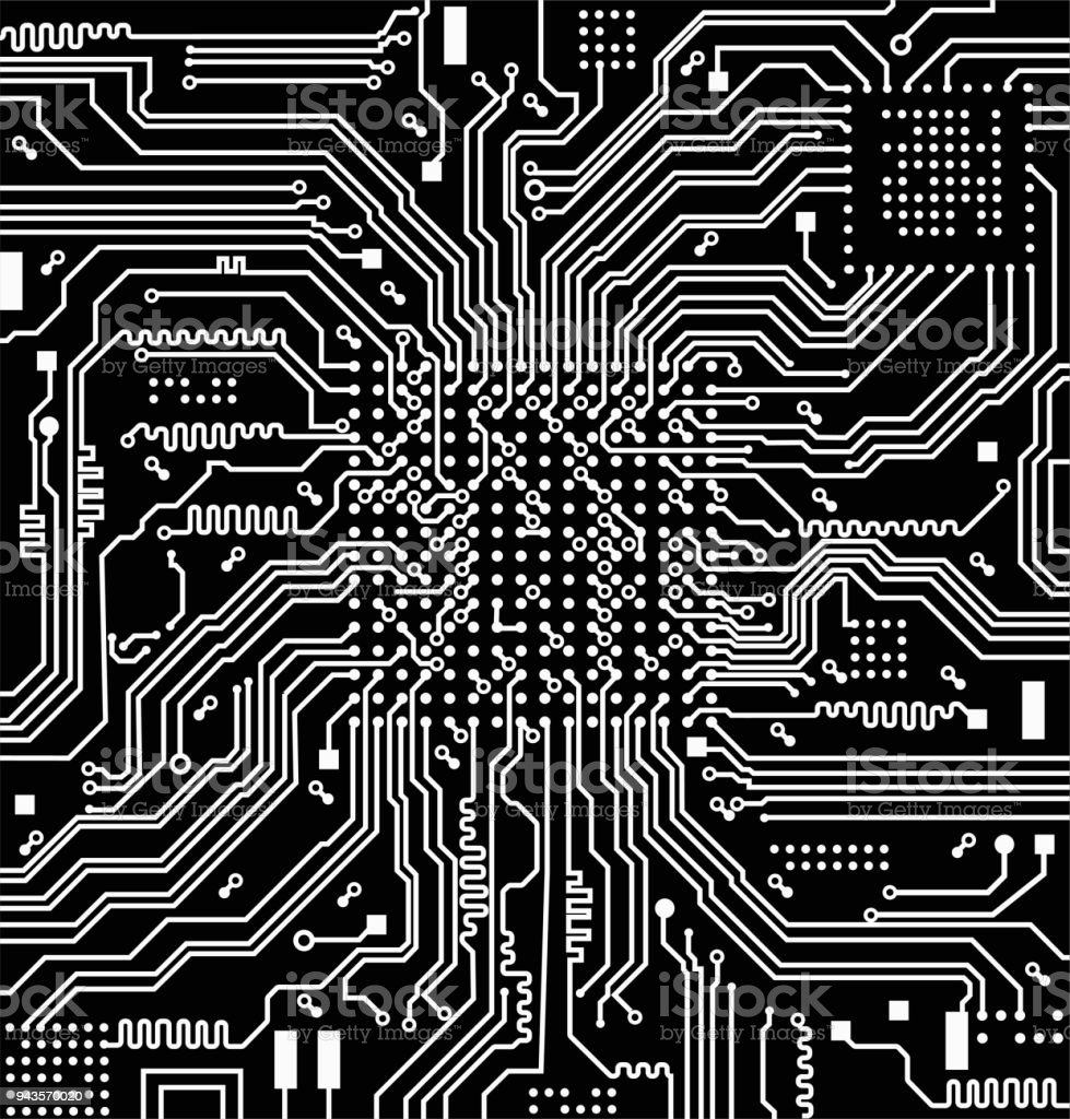 High Tech Electronic Circuit Board Vector Background Stock Image Of The Royalty Free
