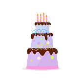 High three-tiered birthday cake with chocolate topping, cream and scribbly line decor, candles on plate. Bakery and gastronomy concept. Greeting element on white background.