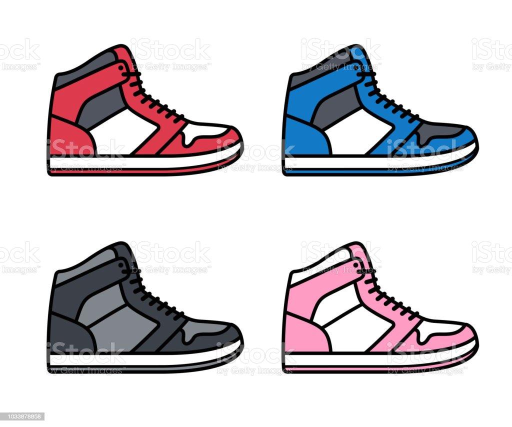 Set de zapatillas superior alta ilustración de set de zapatillas superior alta y más vectores libres de derechos de a la moda libre de derechos