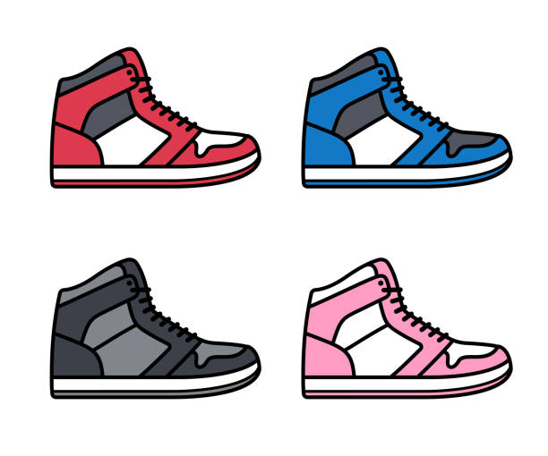 High top sneakers set Sports shoe icon set. High top sneakers in different colors. Isolated vector illustration. running shoes stock illustrations