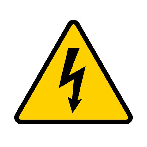High voltage contamination symbol. Yellow triangular warning sign. Caution, risk of electric shock. Vector illustration. high voltage sign stock illustrations