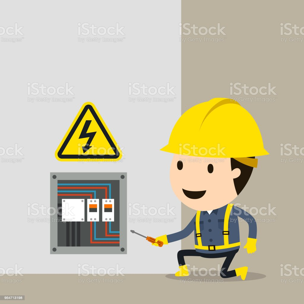 High voltage electrical maintenance checks vector art illustration