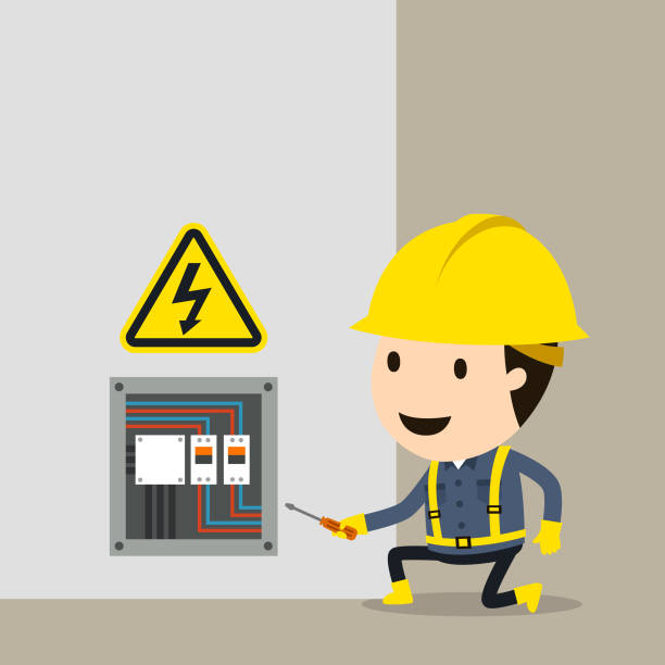 ilustrações, clipart, desenhos animados e ícones de verificações de manutenção elétrica de alta tensão - eletricista