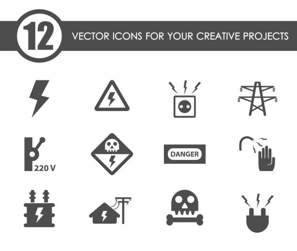 high voltage icon set high voltage vector icons for your creative ideas transformer stock illustrations