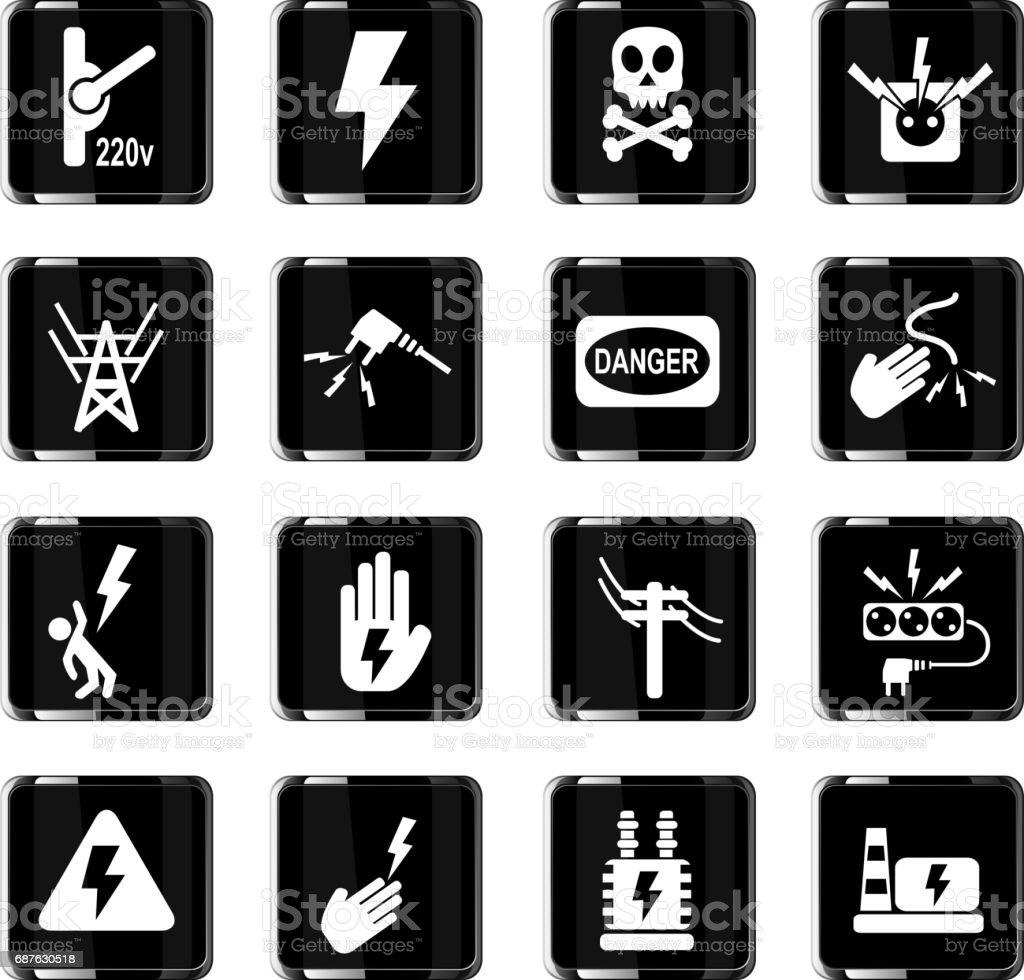 Hoch Spannung Symbolset Stock Vektor Art und mehr Bilder von ...