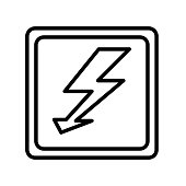 High voltage icon vector sign and symbol isolated on white background, High voltage logo concept