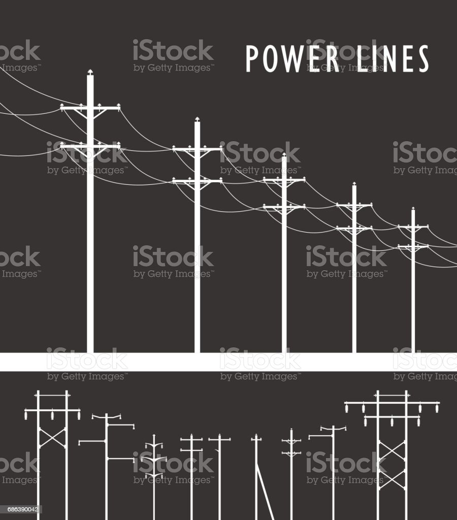 High Voltage Post vector art illustration