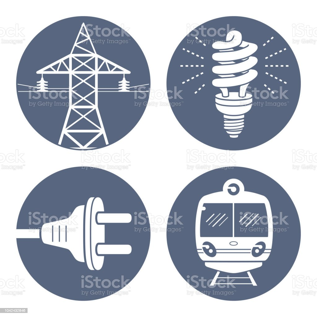 High voltage power line transmission tower or pylon, energy saving light bulb or lamp, AC plug, subway or EMU train. vector art illustration