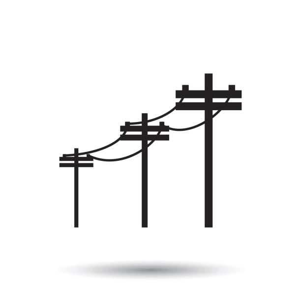 High voltage power lines. Electric pole vector icon on white background. High voltage power lines. Electric pole vector icon on white background. electricity pylon stock illustrations