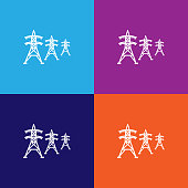 high voltage power lines icon. Signs and symbols can be used for web, logo, mobile app, UI, UX on colored background