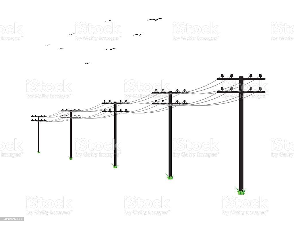 high voltage power lines vector art illustration
