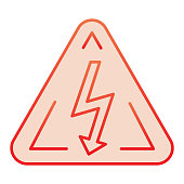 High voltage sign flat icon. Danger electricity red icons in trendy flat style. Triangle hazard symbol with lightning gradient style design, designed for web and app. Eps 10