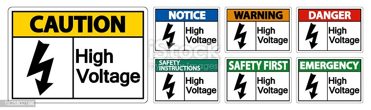 High voltage Sign Isolate On White Background,Vector Illustration EPS.10