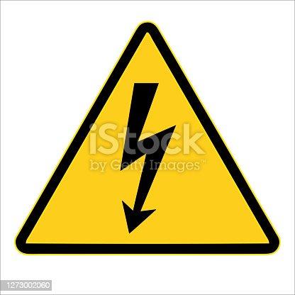 High voltage sign. warning sign, electrical hazard sign. Vector illustration. on white background