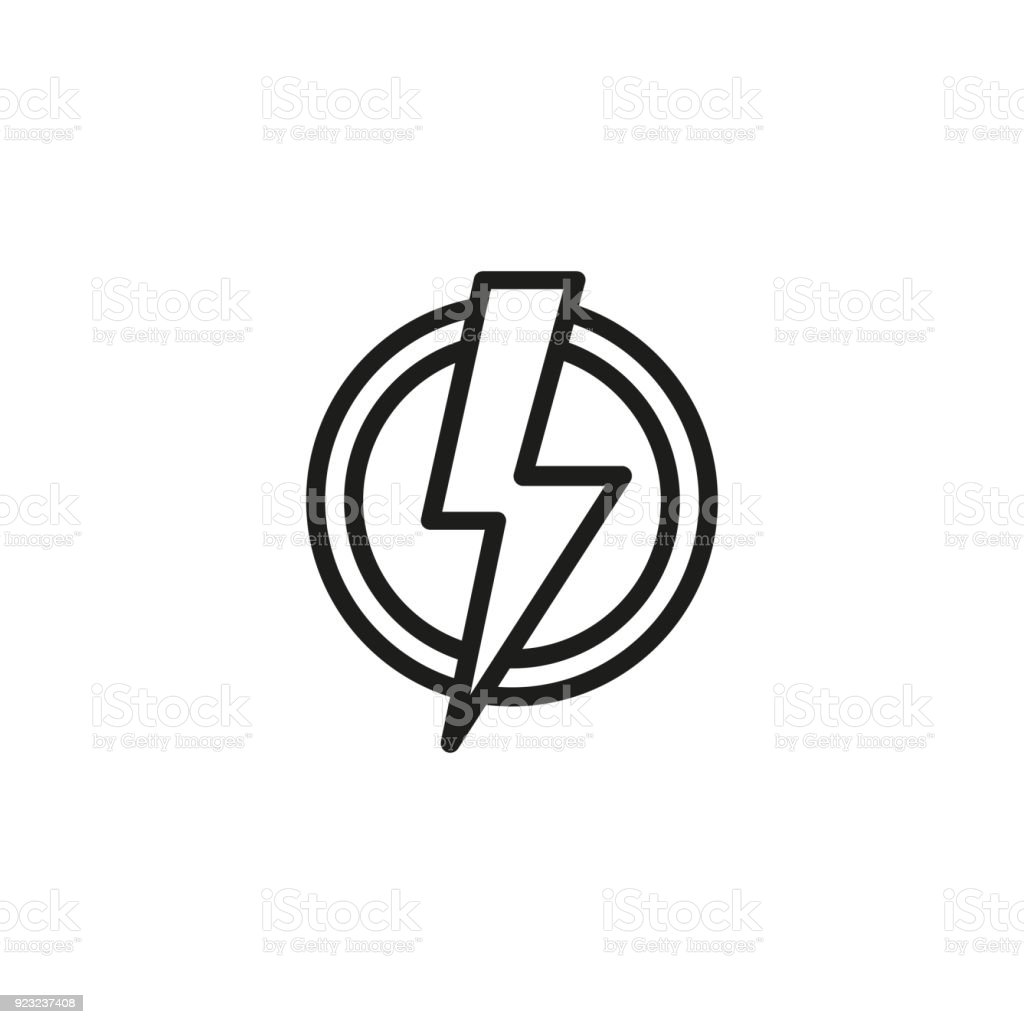 High Voltage Symbol In Circle Line Icon Stock Vector Art More
