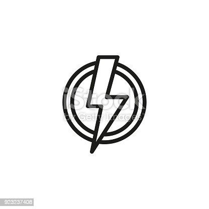 Hochspannungssymbol Im Kreis Liniensymbol Stock Vektor Art und mehr ...