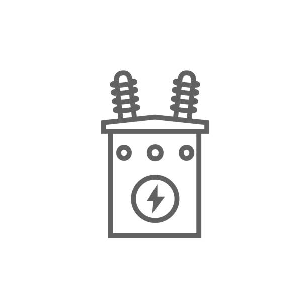 High voltage transformer line icon High voltage transformer thick line icon with pointed corners and edges for web, mobile and infographics. Vector isolated icon. electricity transformer stock illustrations