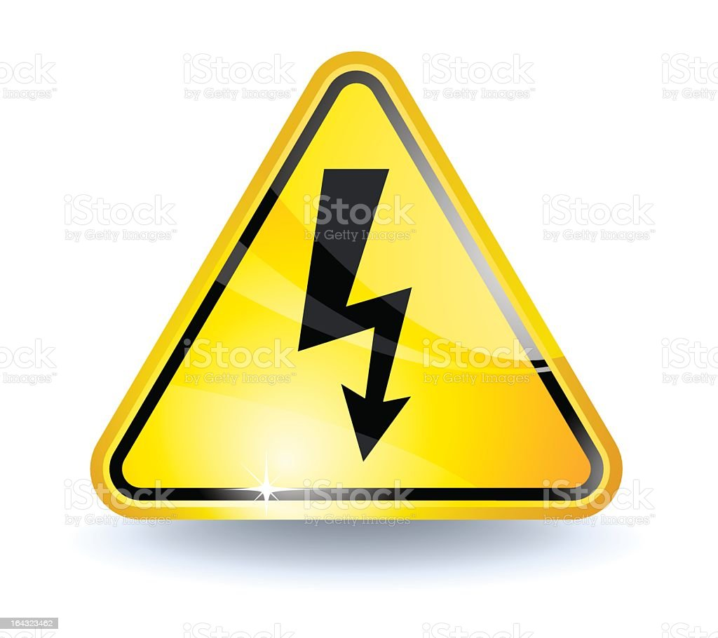 High voltage yellow triangle warning sign royalty-free stock vector art