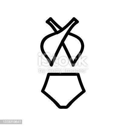 high waist swimwear and cross bodice icon vector