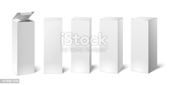 High white cardboard box mockup. Set of realistic vertical tall cardboard rectangular cosmetic or medical packaging, paper boxes. Vector 3D illustration isolated collection