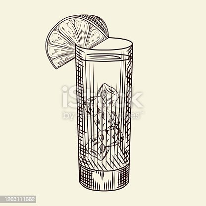 istock Highball glass of alcohol coctail and lime slice. Glass of lemonade and ice cubes. 1263111662