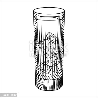 istock Highball glass of ice water. Glass of lemonade and ice cubes. 1263111630