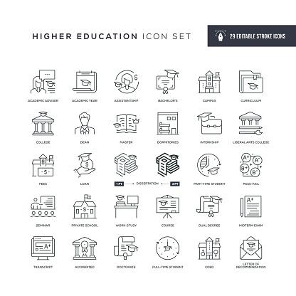 Higher Education Editable Stroke Line Icons