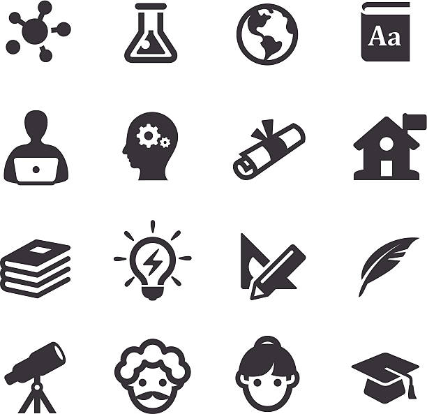 higher education icons - acme series - astronomy telescope stock illustrations