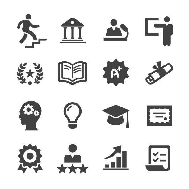 higher education icons - acme series - school stock illustrations