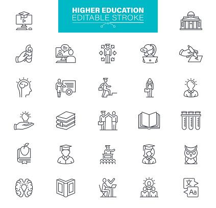 Higher Education Icons Editable Stroke