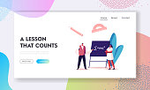 Higher Education in University or College Landing Page Template. Teacher Male Character Explain Mathematics or Physics Formula Written with Chalk on Blackboard to Student. Cartoon Vector Illustration