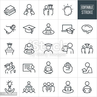 A set of higher education icons that include editable strokes or outlines using the EPS vector file. The icons include college textbooks, college students, student with cap and gown, student graduating, college diploma, concepts of knowledge and learning, graduation cap, student studying, online education, human brain, graduation speech, professor, teacher, student on laptop, school back-pack, college class and other related icons.