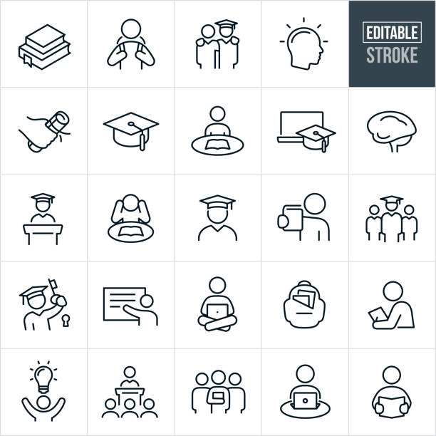 Higher Education Thin Line Icons - Editable Stroke A set of higher education icons that include editable strokes or outlines using the EPS vector file. The icons include college textbooks, college students, student with cap and gown, student graduating, college diploma, concepts of knowledge and learning, graduation cap, student studying, online education, human brain, graduation speech, professor, teacher, student on laptop, school back-pack, college class and other related icons. showing stock illustrations