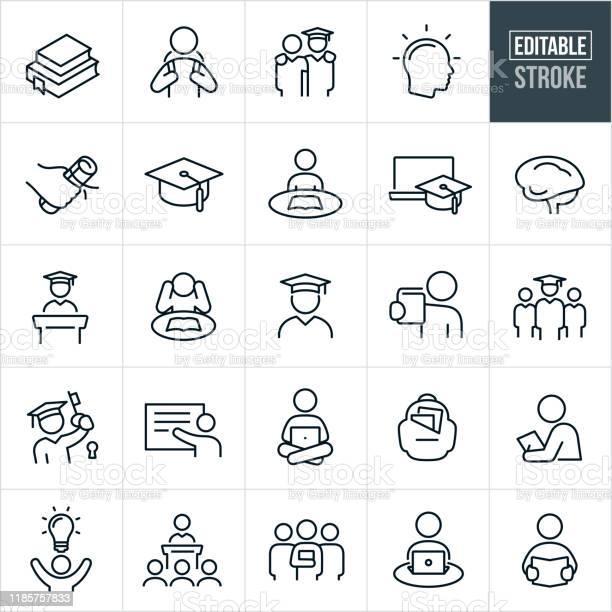 Иконки Тонкой Линии Высшего Образования Редактируемый Ход — стоковая векторная графика и другие изображения на тему Академическая шапочка