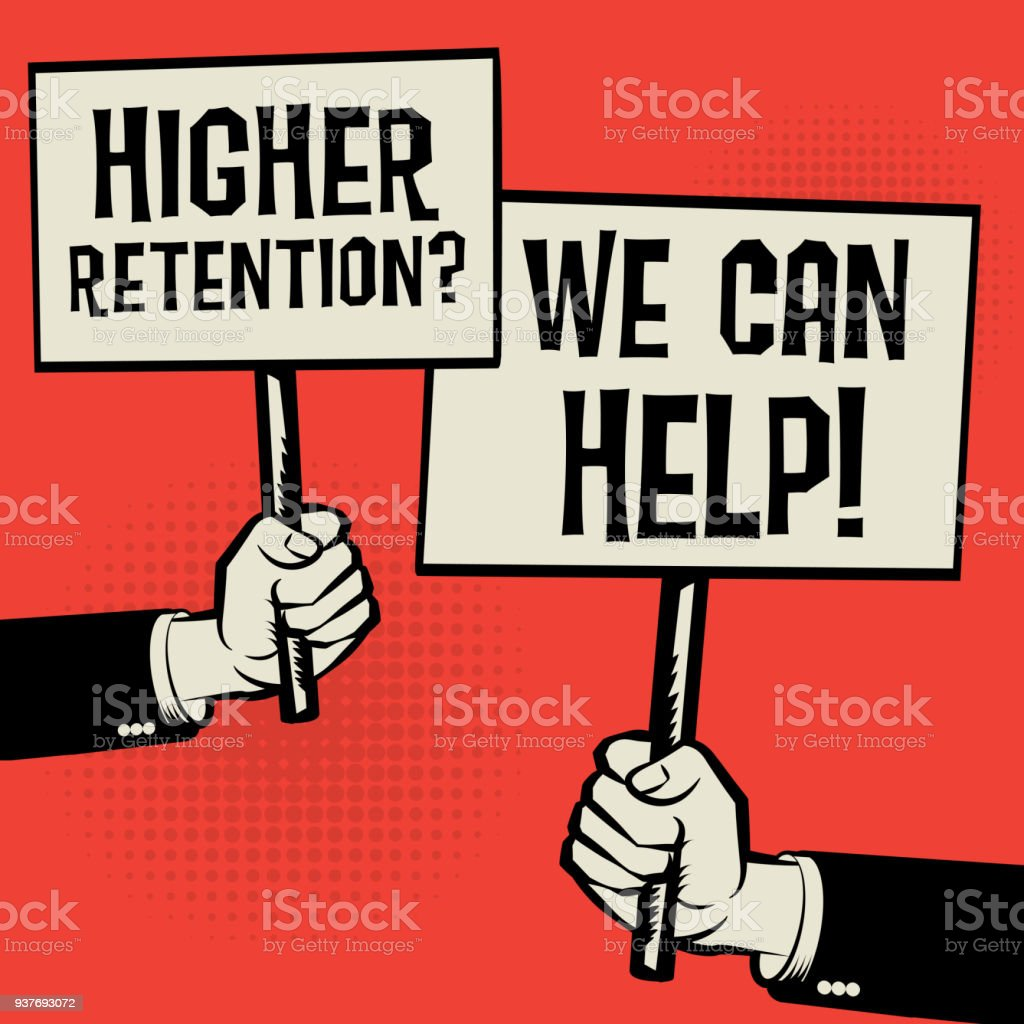 Higher Retention? We Can Help! vector art illustration