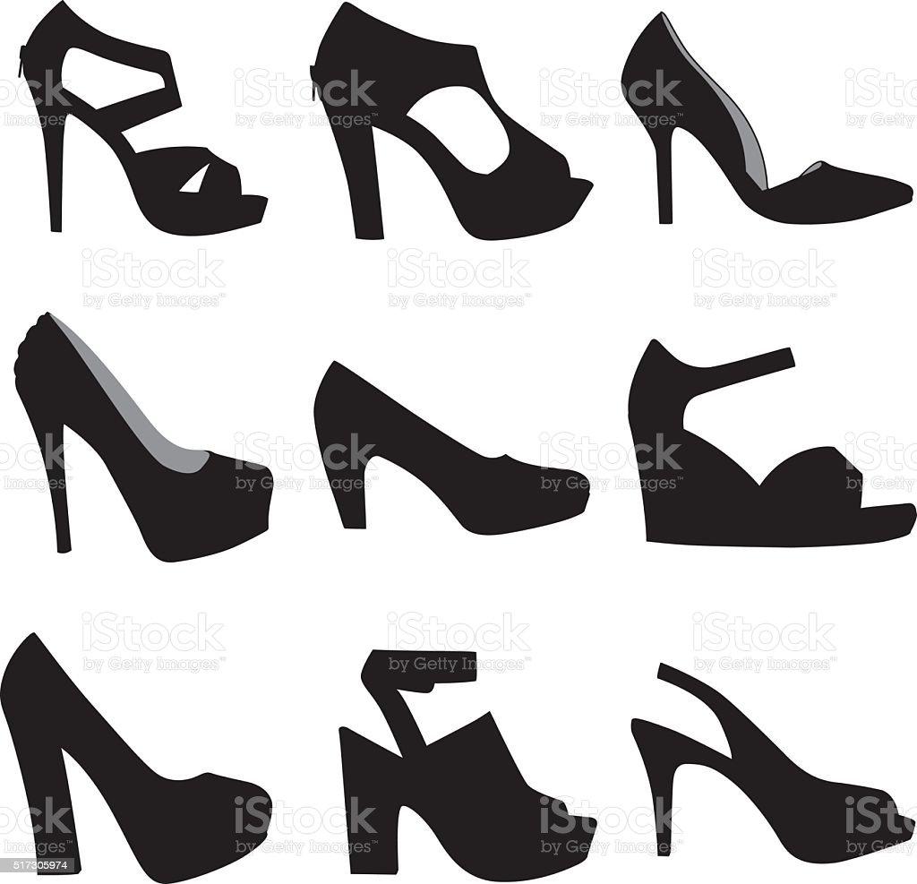 HighHeel Shoe Silhouettes vector art illustration