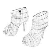 High-heeled shoes wireframe. Womens shoes isolated on white background. 3D. Vector illustration.