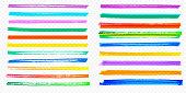 Highlight brush stroke set vector color marker pen lines transparent background