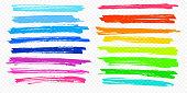 Highlight brush stroke set vector color marker pen lines underline transparent background