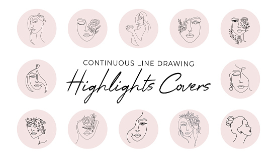 Highlight covers backgrounds set in trendy style.