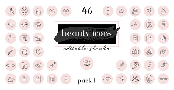 Highlight covers backgrounds. Set of beauty icons.