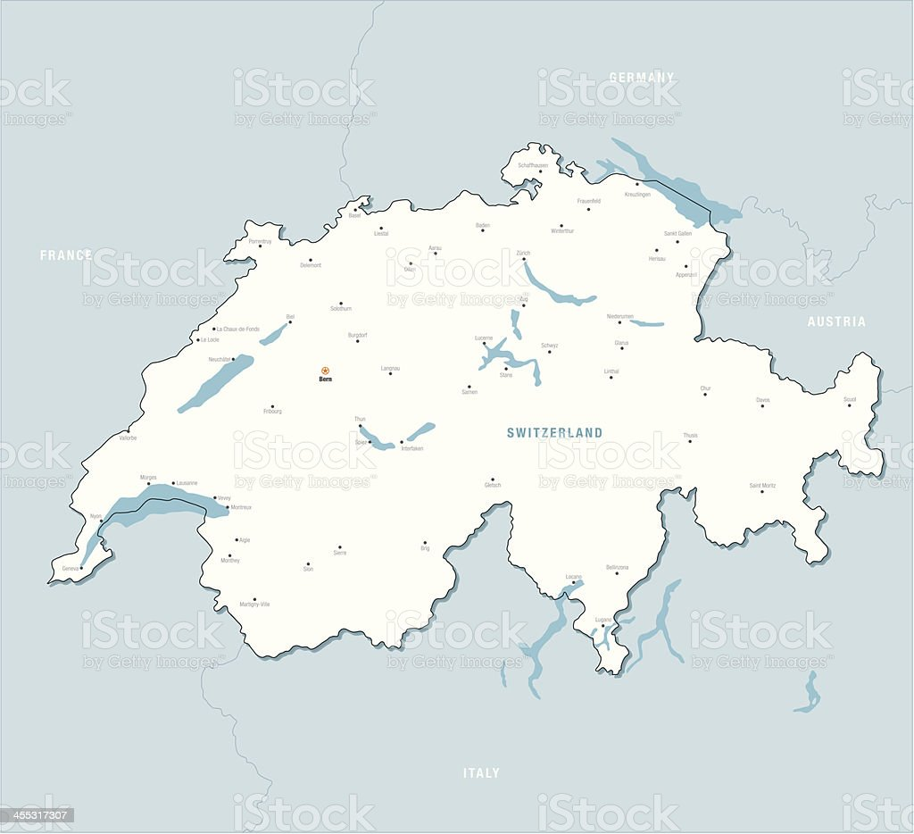 Highlighted map of Switzerland royalty-free stock vector art