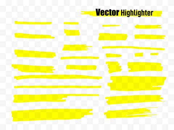 illustrazioni stock, clip art, cartoni animati e icone di tendenza di highlighter brush set. hand drawn yellow highlight marker stripes. vector illustration - sfondo scarabocchi e fatti a mano