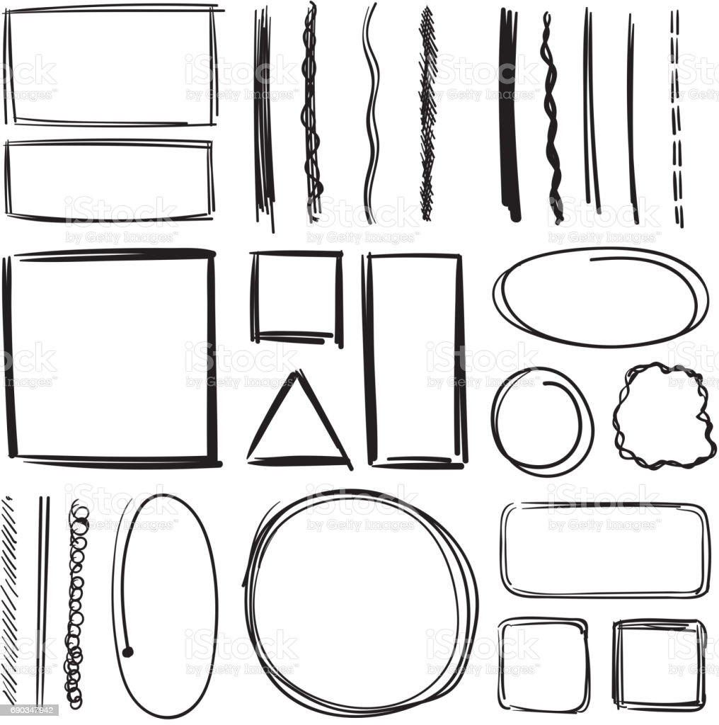 Highlighter, circles and underlines. Vector illustration set of pencil marks. Hand drawn pictures vector art illustration