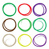 Highlighter elements, large color circle set, yellow, green, red, purple, blue, brown etc.