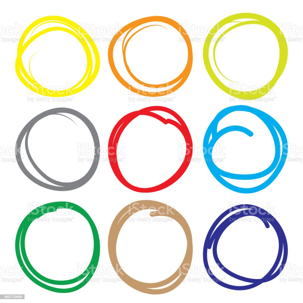 Highlighter elements, large color circle set, yellow, green, red, purple, blue, brown etc. - Royalty-free Abstract stock vector