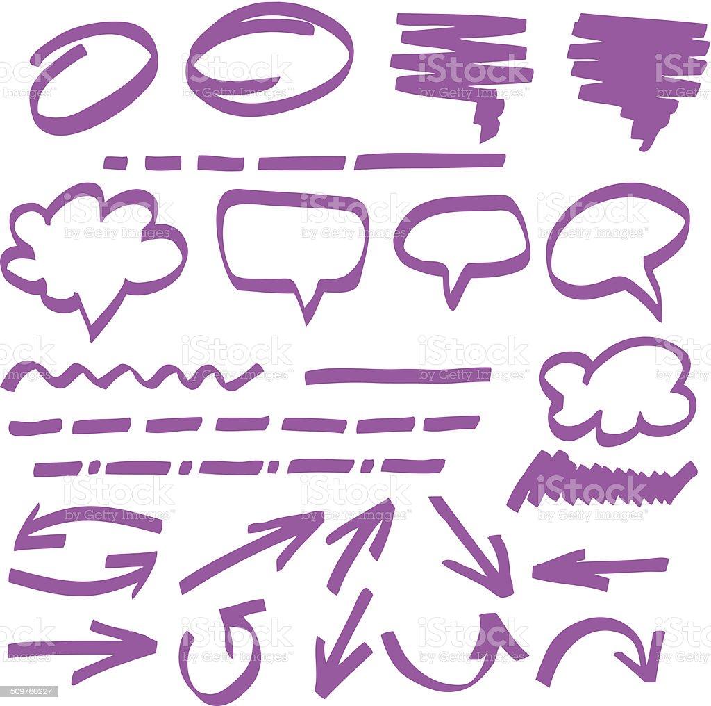 highlighter elements vector art illustration
