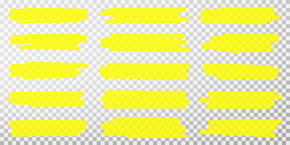 Highlighter lines. Hand drawn yellow highlighter marker strokes. Set of transparent fluorescent highlighter markers for underlines