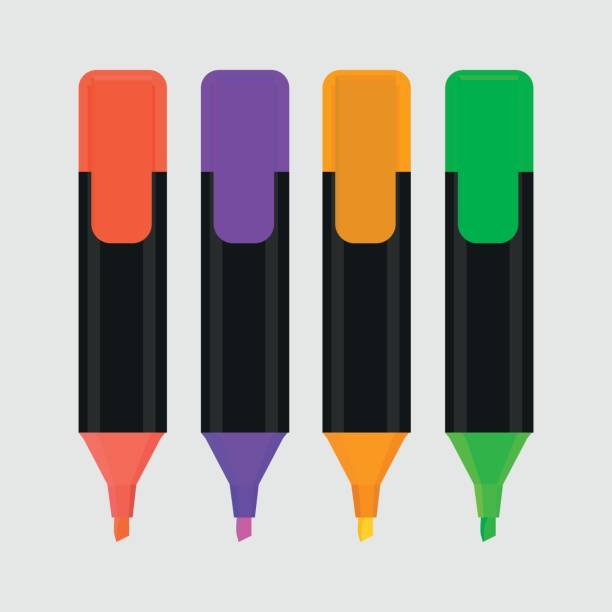 textmarker isoliert symbol vektor-illustration - filzarbeiten stock-grafiken, -clipart, -cartoons und -symbole