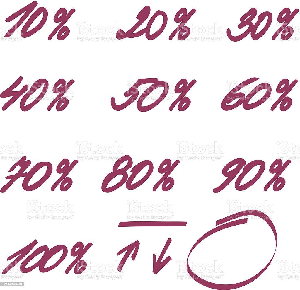 highlighter percent hand drawn vector art illustration